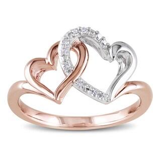Miadora Two-tone Silver Diamond Accent Double Heart Ring