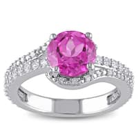 Miadora Sterling Silver Created Pink, Created White Sapphire and 1/10ct TDW Diamond Ring (H-I, I2-I3