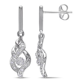 Miadora 10k White Gold 1/6ct TDW Diamond Dangle Earrings
