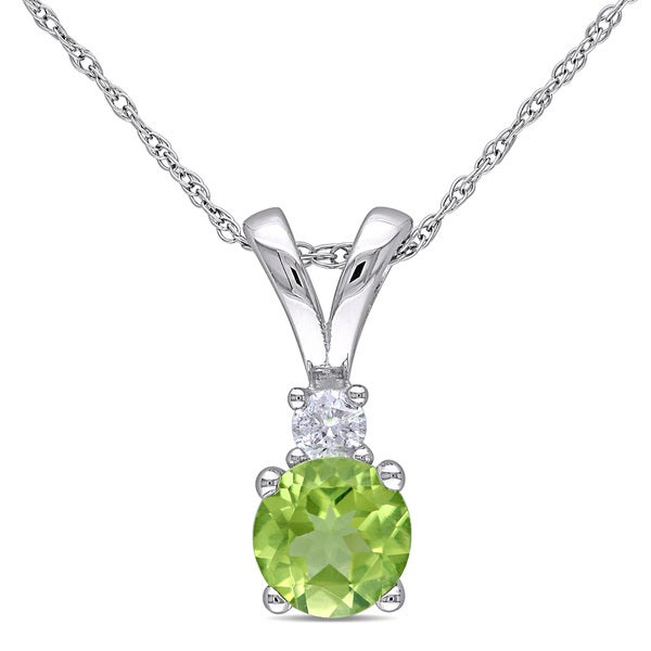 34ff94fc1b0a5 Shop Miadora 10k White Gold Peridot and Diamond Accent Necklace - On ...