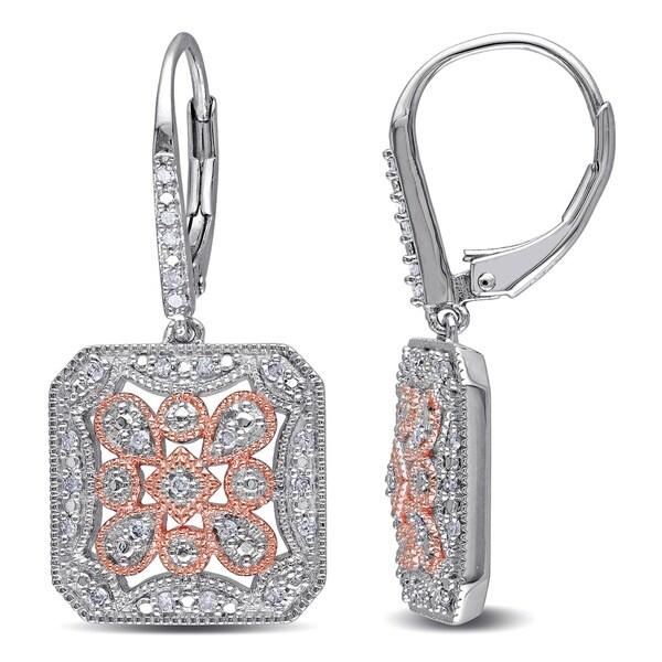 Miadora Two-tone Silver 1/4ct TDW Diamond Dangle Earrings