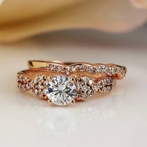 Auriya 14k Gold 1ctw Braided Twist Round Diamond Engagement Ring Set