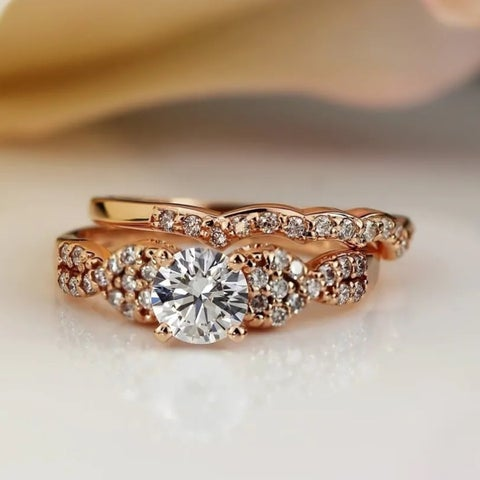 Auriya 14k Gold 1ct TDW Certified Twisted Braid Diamond Engagement Ring Set