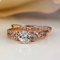 Auriya 14k Gold 1ct TDW Certified Diamond Twist Engagement Ring Bridal Set - White H-I