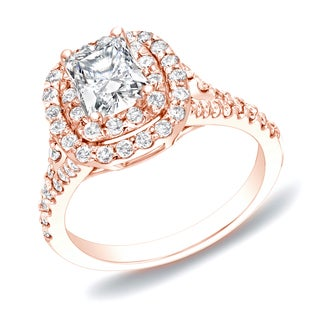 Auriya 14k Rose Gold 1 1/4ct TDW Cushion Double Halo Diamond Ring (H-I, SI1-SI2)