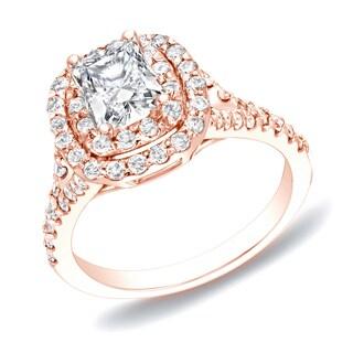 Auriya 14k Rose Gold 1 1/4ct TDW Cushion-Cut Diamond Halo Engagement Ring