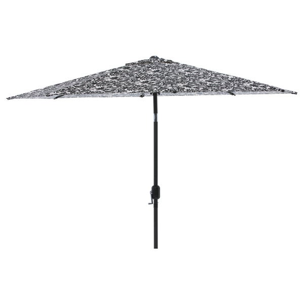 Pillow Perfect Black/ White Damask 9 Foot Patio Umbrella