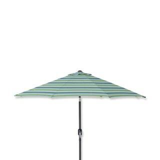 Pillow Perfect Topanga Stripe Lagoon 9-foot Patio Umbrella