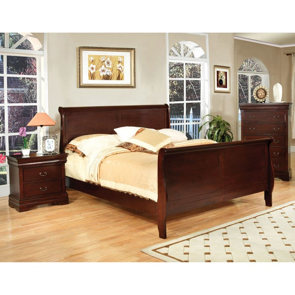 shop furniture of america dellise transitional paneled sleigh bed on sale free shipping. Black Bedroom Furniture Sets. Home Design Ideas