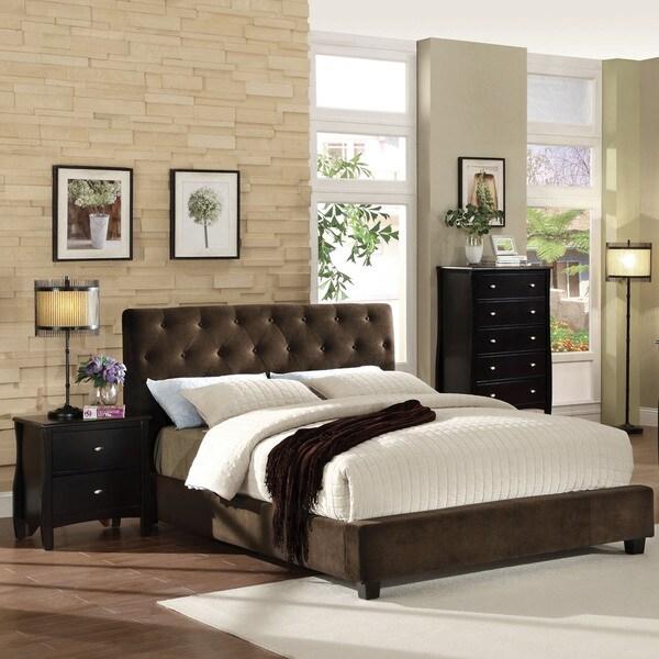 Shop Furniture Of America Breliez Dark Brown Velvet