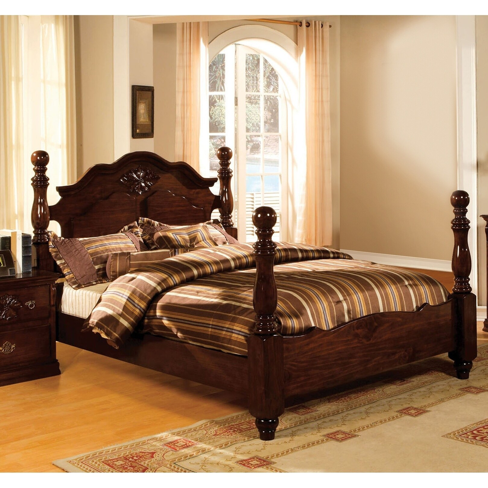 Weston Traditional Style Glossy Dark Pine Four Poster Bed By FOA