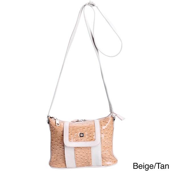 J. Furmani Ostrich-embossed Vegan Leather Shoulder Bag