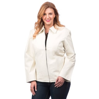 Women's White Leather Jacket with Zip-out Liner
