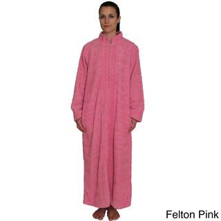 NDK New York Women's Cozy Zipper Front Cotton Chenille Robe