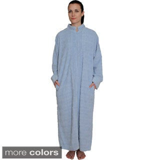 NDK New York Women's Cozy Zipper Front Cotton Chenille Robe
