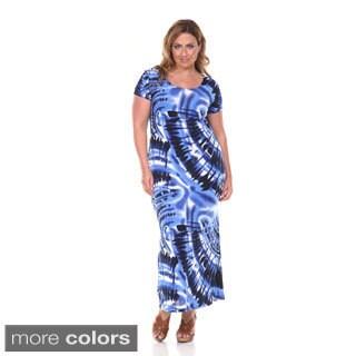 White Mark Women's Plus Tie-dye Maxi Dress
