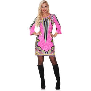 White Mark Women's Fuchsia and Yellow Printed Bell-sleeve Dress