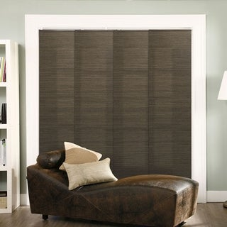 "Chicology Adjustable Sliding Panel, Frontier - Natural Woven, Privacy, 80""W X 96""H - French Oolong"