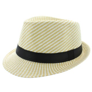 Faddism Men's Fashion Stripe Fedora Hat in Yellow White