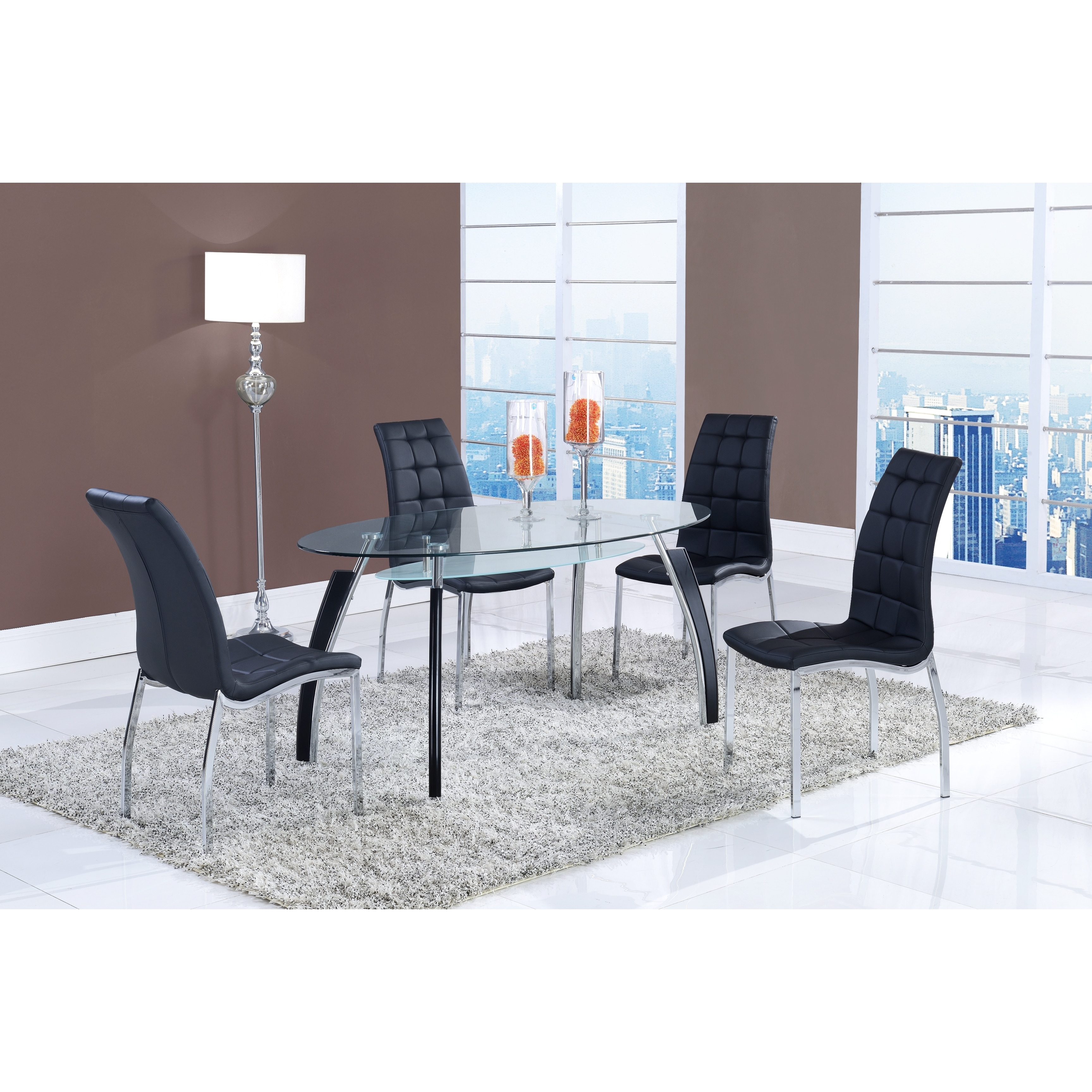 Picture of: Shop Oval Glass Dining Table And Storage Shelf Overstock 9219143