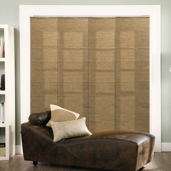 """Chicology Adjustable Sliding Panel, Frontier - Natural Woven, Privacy, 80""""W X 96""""H - Lattice Latte"""