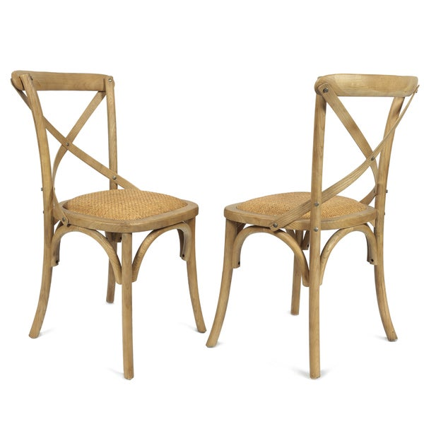 Set Of 2 Antique Wooden Dining Chairs Padded Seat Rattan: Shop Adeco Elm Wood Woven Rattan Vintage-style Dining