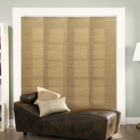 """Chicology Adjustable Sliding Panel, Frontier - Natural Woven, Privacy, 80""""W X 96""""H - French Sandalwood"""