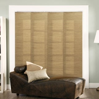 "Chicology Adjustable Sliding Panel, Frontier - Natural Woven, Privacy, 80""W X 96""H - French Sandalwood"