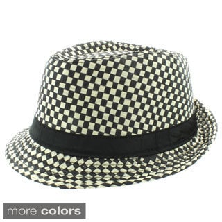 Faddism Men's Fashion Checkered Fedora Hat