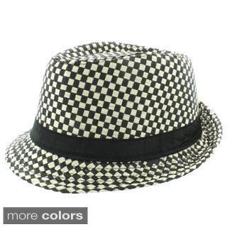 Faddism Men's Fashion Checkered Fedora Hat