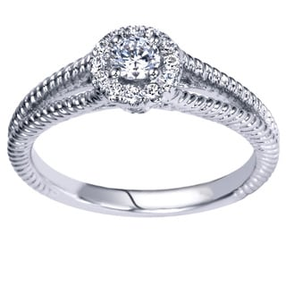 14k White Gold 1/3ct TDW Diamond Carved Halo Engagement Ring