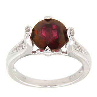 Pearlz Ocean Crimson and White Topaz Sterling Silver Ring