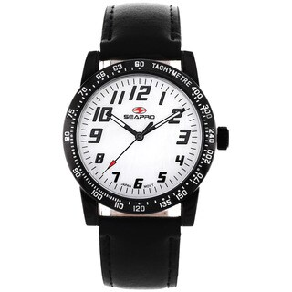 Seapro Women's Bold Black Leather Watch