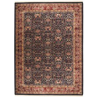 Herat Oriental Indo Hand-knotted Mahal Navy/ Red Wool Rug (9' x 12'1)