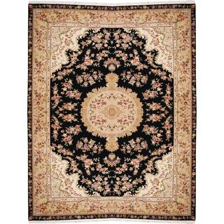 Herat Oriental Indo Hand-knotted Tabriz Black/ Beige Wool and Silk Rug (9'9 x 12'6)