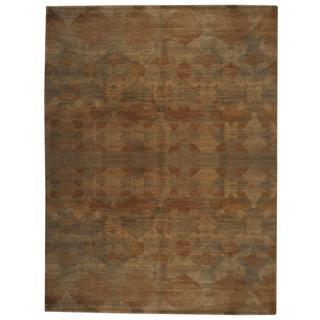 Herat Oriental Indo Hand-knotted Tibetan Olive/ Beige Wool Rug (8'10 x 11'8)