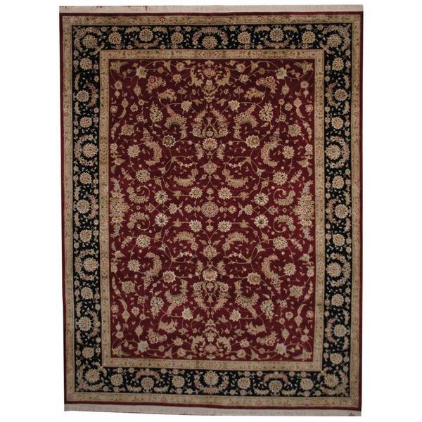 Handmade Herat Oriental Indo Tabriz Wool and Silk Rug - 8'10 x 11'7 (India)