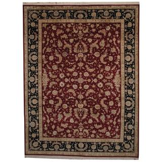 Herat Oriental Indo Hand-knotted Tabriz Red/ Navy Wool and Silk Rug (8'10 x 11'7)