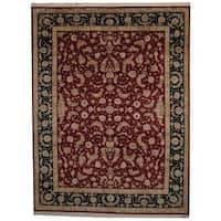 Herat Oriental Indo Hand-knotted Tabriz Wool and Silk Rug (8'10 x 11'7) - 8'10 x 11'7