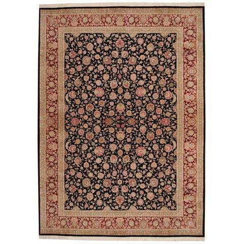 Handmade One-of-a-Kind Tabriz Wool and Silk Rug (India) - 8'5 x 11'9
