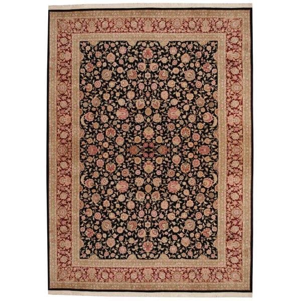 Herat Oriental Indo Hand-knotted Tabriz Wool and Silk Rug (8'5 x 11'9) - 8'5 x 11'9