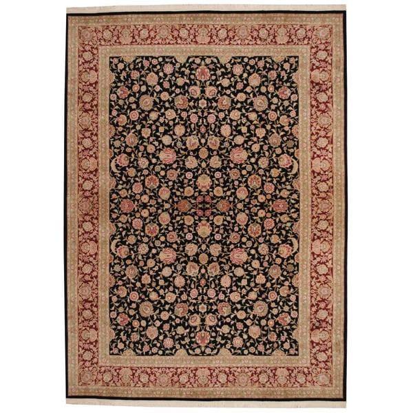 Handmade Herat Oriental Indo Tabriz Wool and Silk Rug - 8'5 x 11'9 (India)