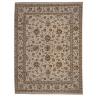 Herat Oriental Indo Hand-knotted Tabriz Ivory/ Tan Wool and Silk Rug (9' x 12')