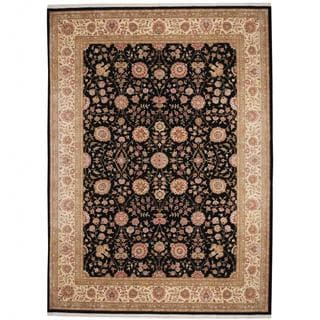 Herat Oriental Indo Hand-knotted Tabriz Black/ Beige Wool and Silk Rug (9' x 12'4)