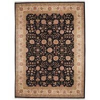 Herat Oriental Indo Hand-knotted Tabriz Wool and Silk Rug (9' x 12'4) - 9' x 12'4