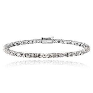 Icz Stonez Platinum Plated Sterling Silver 5 1/2ct TGW 100 Facets Cubic Zirconia Tennis Bracelet