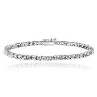 Icz Stonez Platinum Plated Sterling Silver 5 1/2ct TGW 100 Facets Cubic Zirconia Tennis Bracelet