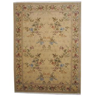 Herat Oriental Indo Hand-knotted Aubusson Beige/ Tan Wool and Silk Rug (8'8 x 11'6)