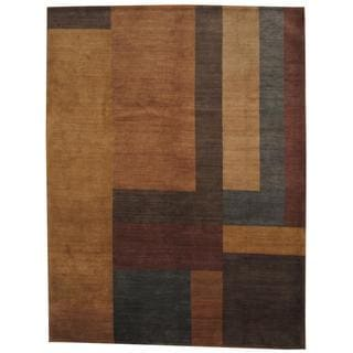 Herat Oriental Indo Hand-knotted Tibetan Tan/ Brown Wool Rug (9' x 12')