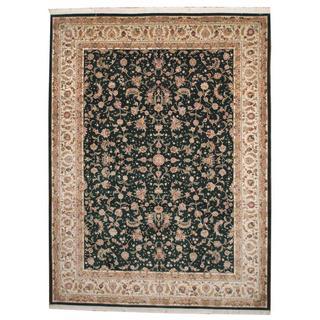 Herat Oriental Indo Hand-knotted Tabriz Green/ Ivory Wool Rug (9' x 12'2)